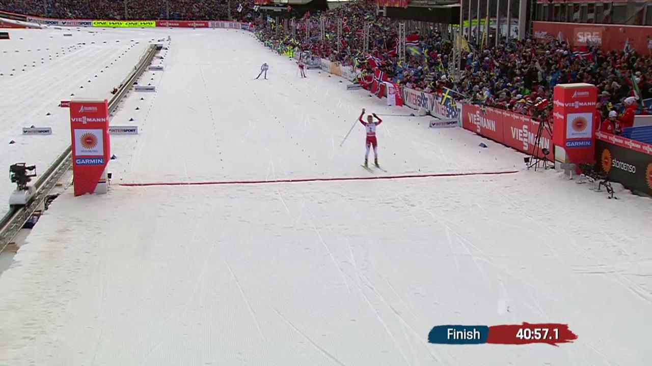 Nordisch-WM: Skiathlon Frauen, der Zieleinlauf von Johaug