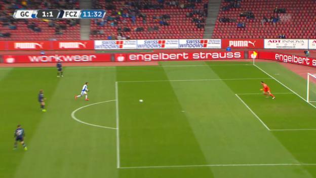 Video «FCZ-Goalie Favre serviert GC-Dabbur den 1:1-Ausgleich» abspielen