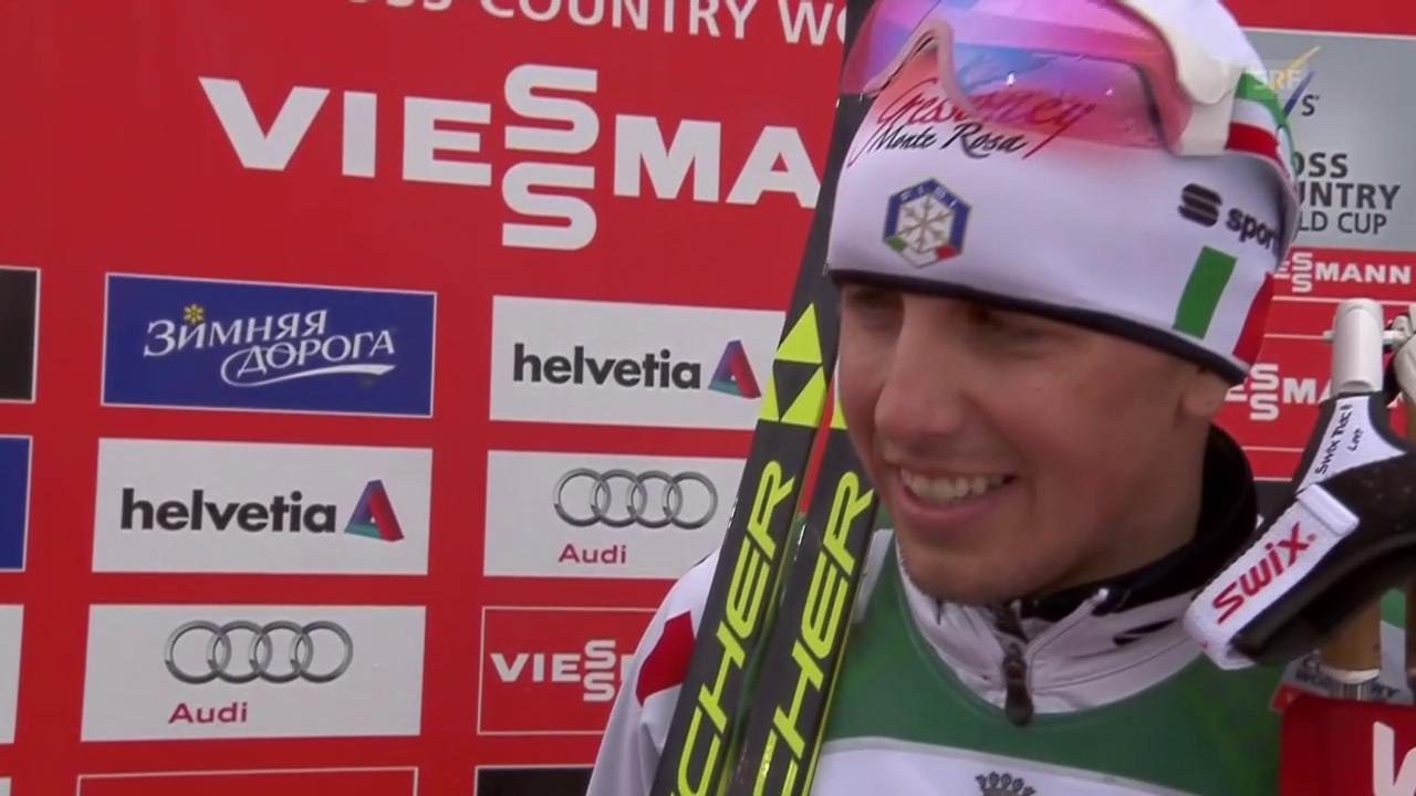 Langlauf: Weltcup in Lahti, 15 km klassisch, Francesco De Fabiani im Siegerinterview