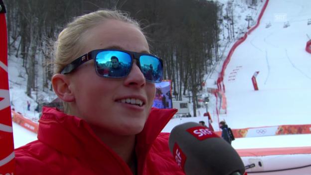 Video «Ski: Super-Kombi Frauen, Interview mit Lara Gut (sotschi direkt, 10.2.2014)» abspielen