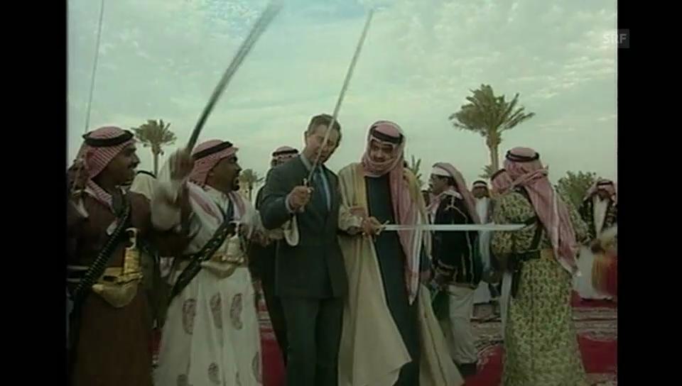 Säbelrasseln: Charles 2001 beim Säbeltanz in Saudiarabien