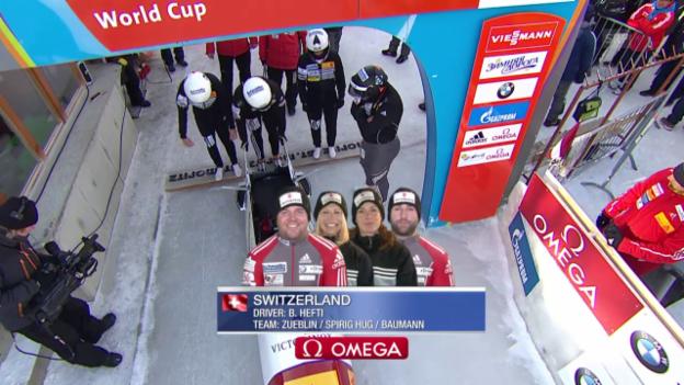 Video «Bob: Viererbob St. Moritz, 1. Lauf Hefti» abspielen