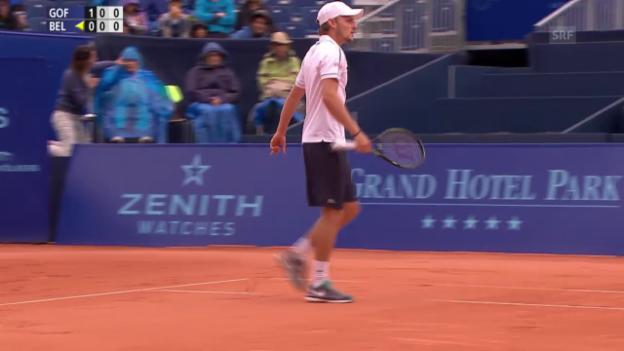 Video «Tennis - Gstaad: Goffin-Bellucci, Satzball 1. Satz (01.08.2015)» abspielen