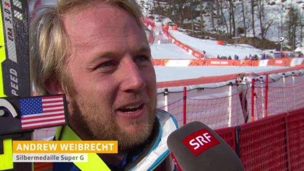 Video «Ski, Super-G, Interview mit Andrew Weibrecht (sotschi direkt, 16.02.14)» abspielen