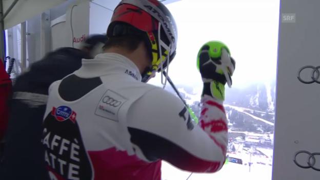 Video «Ski Alpin: Slalom Méribel, 2. Lauf Hirscher» abspielen