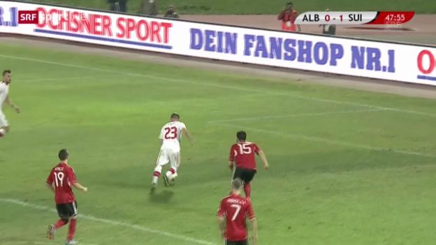Video «Fussball: Shaqiris 1:0 gegen Albanien» abspielen
