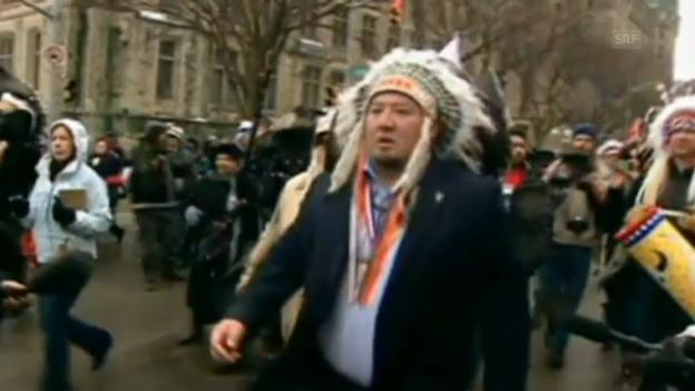 Video «Die indigene Bevölkerung protestiert in Ottawa» abspielen