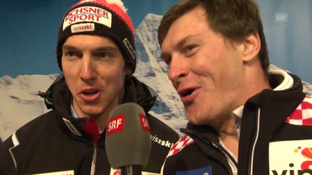 Video «Ski: Janka und Kostelic singen das «Vogellisi»» abspielen