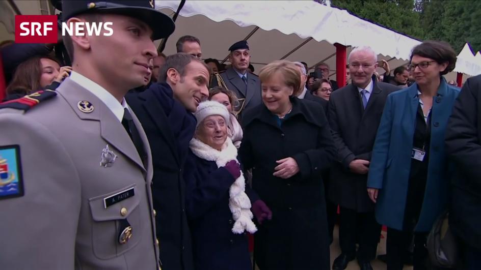 Video «101-jährige Dame verwechselt Merkel mit Frau Macron» abspielen