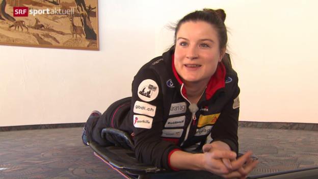Video «Skeleton-Fahrerin Marina Gilardoni strebt an der Heim-EM eine Medaille an» abspielen