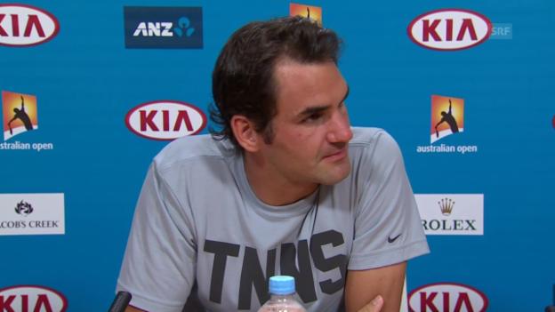 Video «Tennis: Australian Open, Roger Federer - Andreas Seppi, PK mit Federer» abspielen