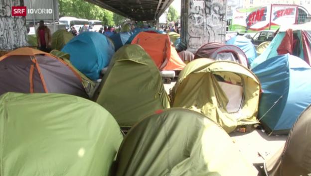 Video «Illegales Zeltlager in Paris» abspielen