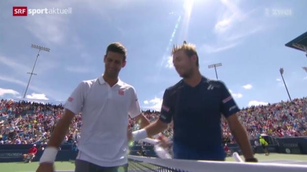 Video «Tennis: ATP Cincinnati, Viertelfinal Wawrinka - Djokovic» abspielen