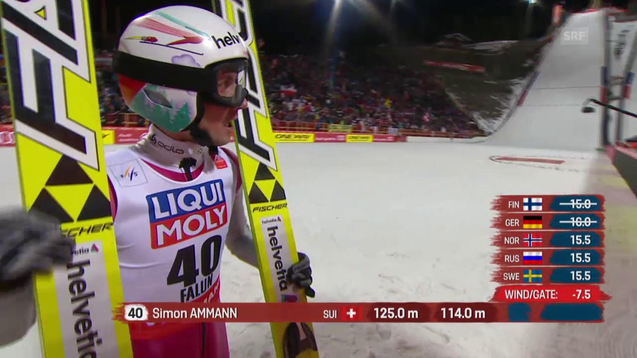 Skispringen: Nordisch-WM Falun, Grossschanze, 2. Sprung von Simon Ammann