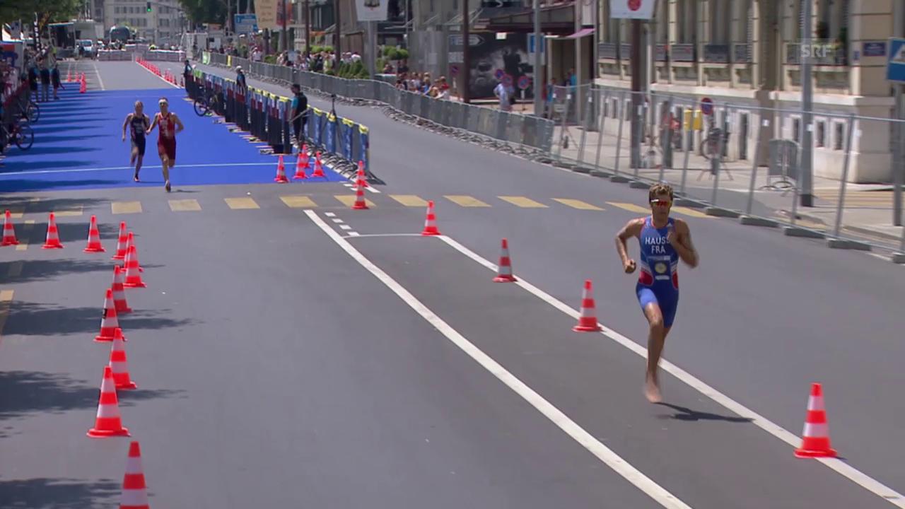 Triathlon: EM in Genf, Mixed-Team-Wettkampf, Hauss zieht barfuss los
