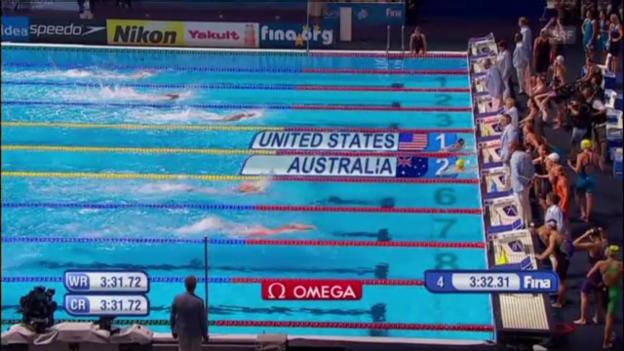 Video «Missy Franklins WM-Titel mit der 4x100 Meter Lagenstaffel» abspielen