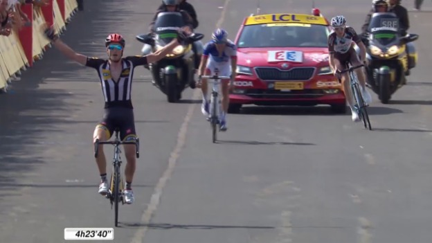 Video «Rad: Tour de France, 14. Etappe, Zielsprint Cummings» abspielen