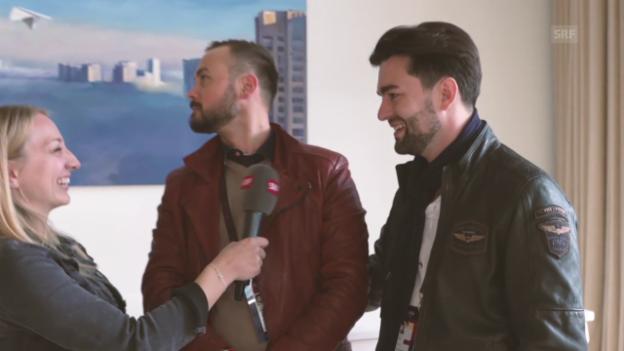 Video «Anna interviewt am ESC die Band Timebell» abspielen