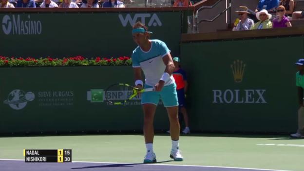 Video «Rafael Nadal schlägt Kei Nishikori im Halbfinal von Indian Wells» abspielen