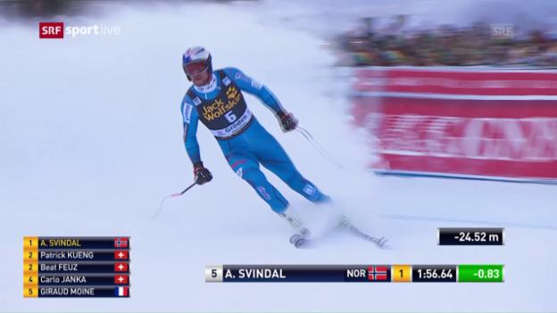 Video «Die Fahrt von Aksel Svindal auf der Saslong» abspielen
