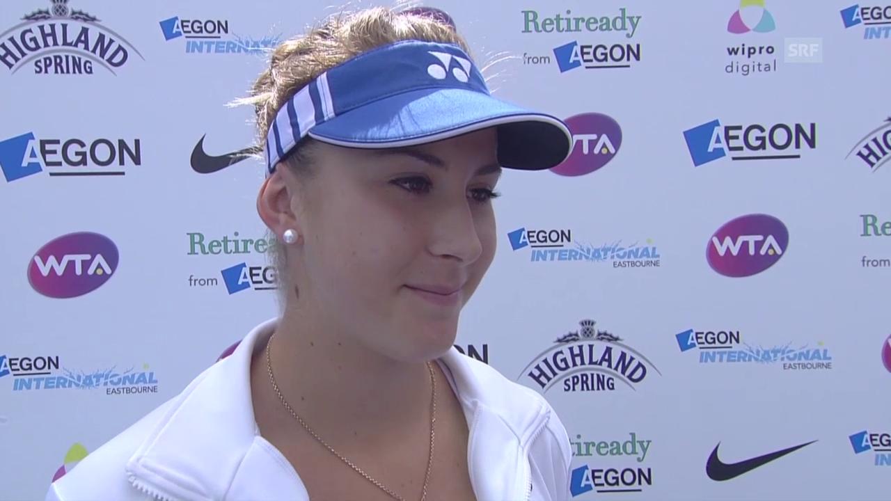 Tennis: WTA-Turnier in Eastbourne, Halbfinal, Belnida Bencic - Caroline Wozniacki