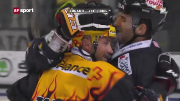 Video «Eishockey: Daniel Steiners Tor gegen Biel (Beitrag «sportaktuell» vom 4.12.2012)» abspielen