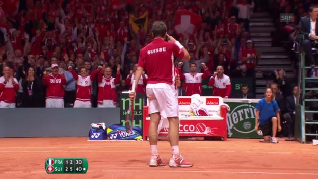 Video «Tennis: Davis Cup, Highlights Tsonga-Wawrinka» abspielen