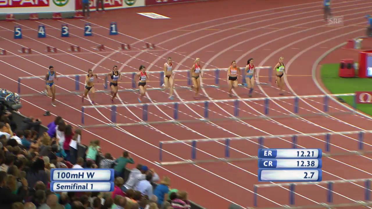LA-EM: 100 m Hürden Frauen, Halbfinal mit Noemi Zbären