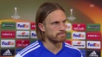 Video «FCB-Verteidiger Michael Lang nach dem Out in der Europa League» abspielen