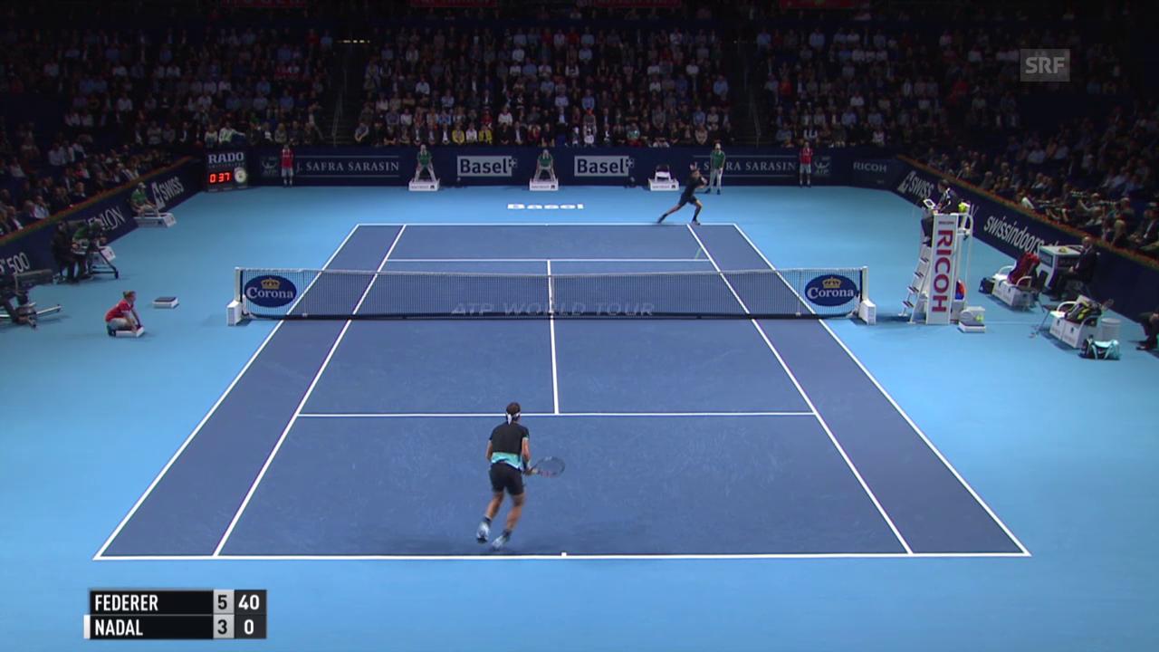 Tennis: Swiss Open, Final Federer-Nadal, Federer gewinnt den 1. Satz
