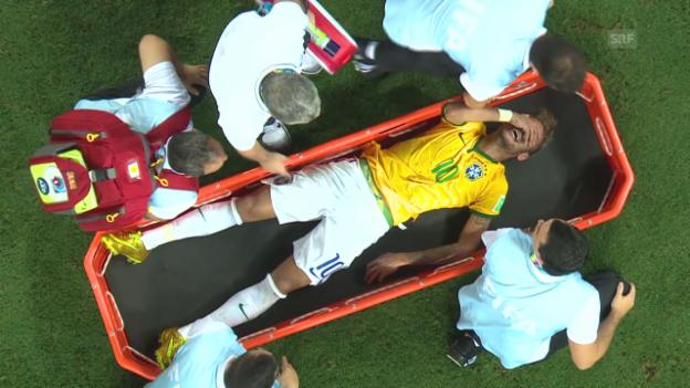 Video «Fussball: WM 2015, Brasilien-Kolumbien, WM-Out für Neymar» abspielen