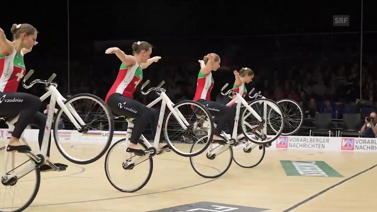 So holten sich die Kunstradfahrerinnen WM-Gold