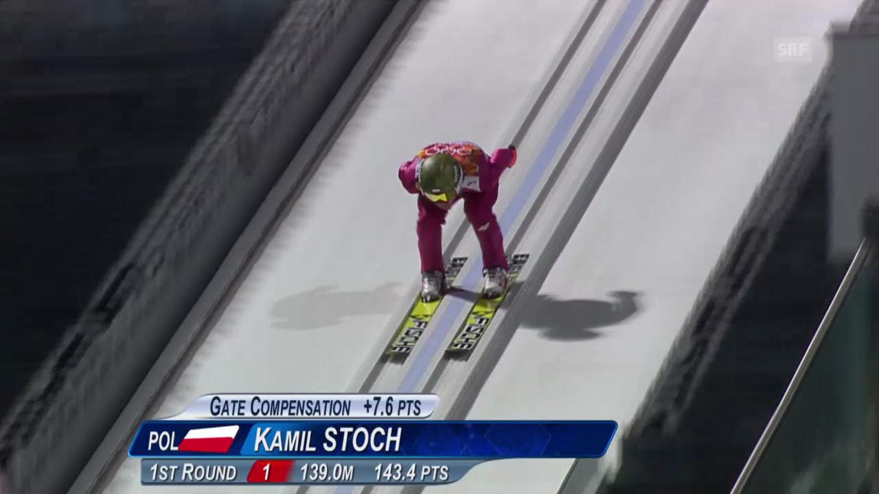 Skispringen: Grossschanze Männer, 2. Sprung Kamil Stoch (sotschi direkt, 15.02.2014)
