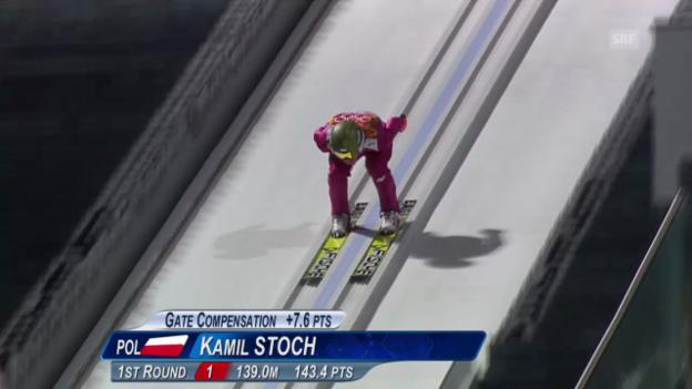 Video «Skispringen: Grossschanze Männer, 2. Sprung Kamil Stoch (sotschi direkt, 15.02.2014)» abspielen