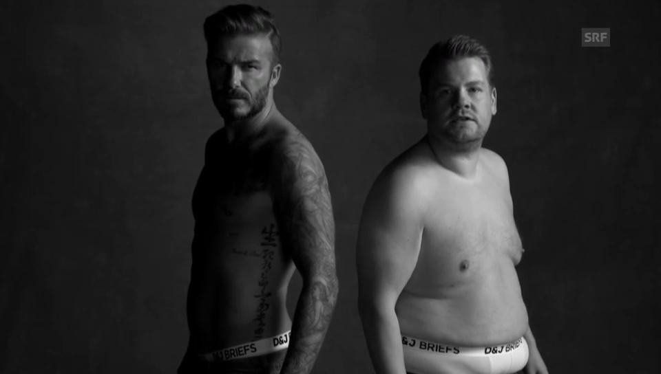 Beckham und Corden: Model-Parodie