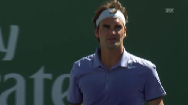 Video «Tennis: Entscheidende Punkte Federer - Tursunow (unkommentiert, 10.03.2014)» abspielen