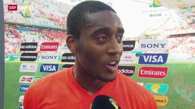 Video «Fussball: FIFA WM 2014, 3. Spieltag Gruppe B, Niederlande - Chile, Interview mit Leroy Fer» abspielen