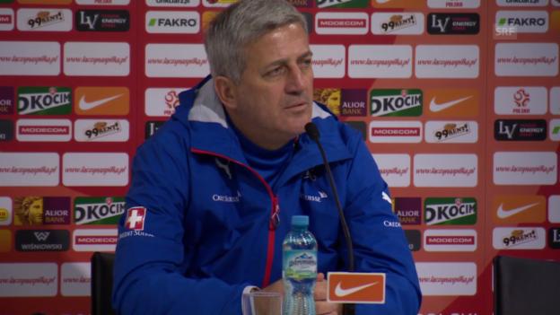 Video «Fussball: Vladimir Petkovic vor dem Polen-Spiel» abspielen