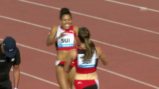 Video «LA: Athletissima, Schweizer Rekord über 4x100 m Staffel der Frauen» abspielen