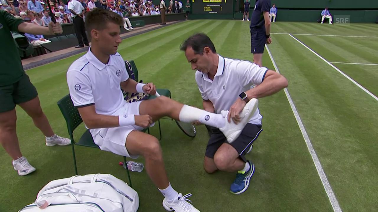 Djokovic-Gegner Klizan muss aufgeben