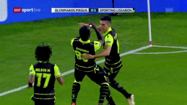 Video «Doumbia führt Sporting zum Sieg über Olympiakos» abspielen