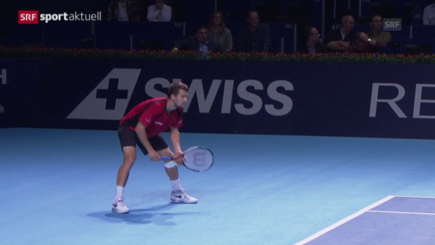 Video «Tennis: Swiss Indoors 2015 in Basel, 1. Runde, Chiudinelli - Cilic» abspielen