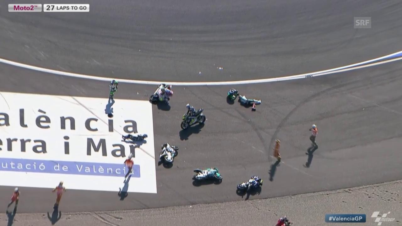 Motorrad: Moto2-GP Valencia, Massensturz