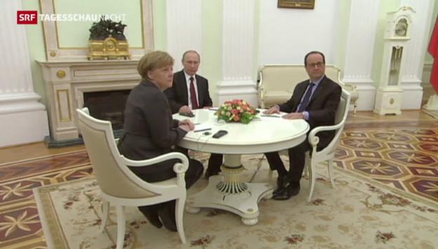 Video «Merkel, Hollande und Putin wollen Ukraine-Friedensplan überarbeiten» abspielen