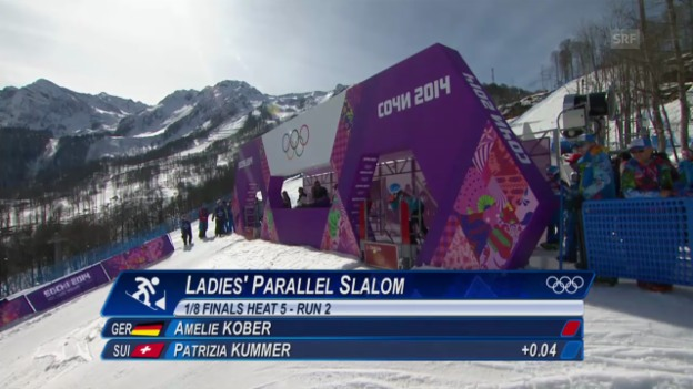 Video «Snowboard: Parallel-Slalom Frauen, das Ausscheiden von Patrizia Kummer im Achtelfinal (sotschi direkt, 22.2.2014)» abspielen