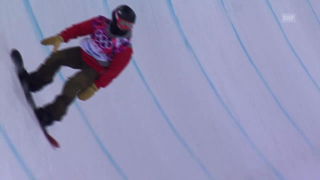 Snowboard-Halfpipe: 1. Final-Run von Christian Haller (sotschi direkt, 11.02.2014)