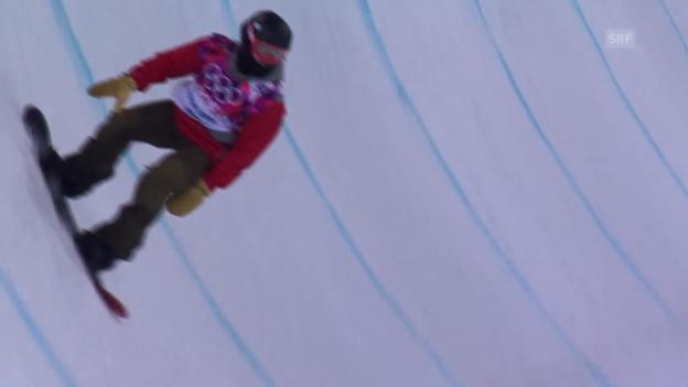 Video «Snowboard-Halfpipe: 1. Final-Run von Christian Haller (sotschi direkt, 11.02.2014)» abspielen