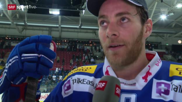 Video «Eishockey: Playoff-Halbfinal Kloten - Freiburg, Interview mit Janick Steinmann» abspielen