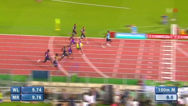 Video «Leichtathletik: Diamond League Meeting Rom, 100 Männer, Sieg Gatlin» abspielen