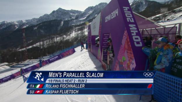 Video «Snowboard: Parallel-Slalom Männer, das Ausscheiden von Kaspar Flütsch im Achtelfinal (sotschi direkt, 22.2.2014)» abspielen